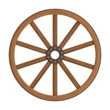 Wooden Wheel Cartoon Vector Ic...