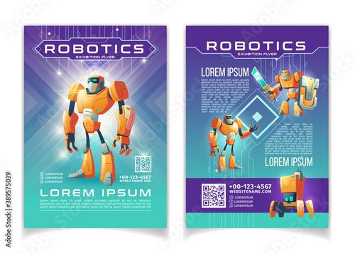 Fotografie, Obraz Robotics exhibition advertising flyer vector pages