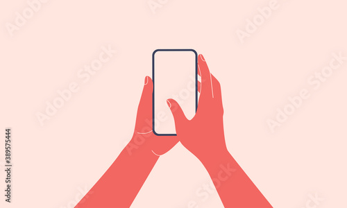 Human hands hold vertically mobile phone with blank screen Wallpaper Mural