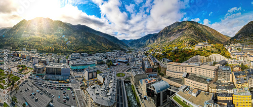 Fototapeta Aerial view of Andorra la Vella, the capital of Andorra, in the Pyrenees mountains between France and Spain obraz