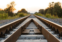 Rails Sleepers Railway Track A...