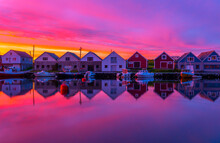Idyllic Boat Houses In Beautif...