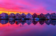 Idyllic Boat Houses In Beautif...