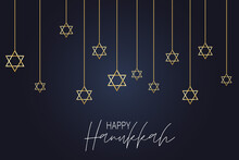 Happy Hanukkah. Traditional Jewish Holiday. Chankkah Banner Background Design Concept. Judaic Religion Decor With Garland, David Star. Vector Illustration.