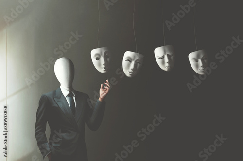 illustration of businessman without face choosing the right mask to wear, surrea Fototapet