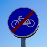 Fototapeta Dmuchawce - bicycle traffic signal on the street in Bilbao city, Spain