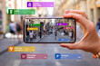 canvas print picture - Concept of augmented reality technology being used in mobile phone for navigation and location based services