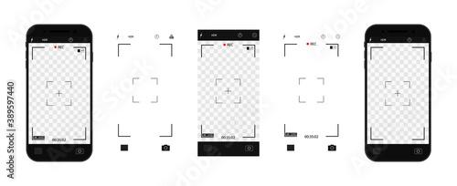 Camera interface in phone screen Billede på lærred