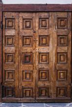 Brown Wooden Door With Carved ...