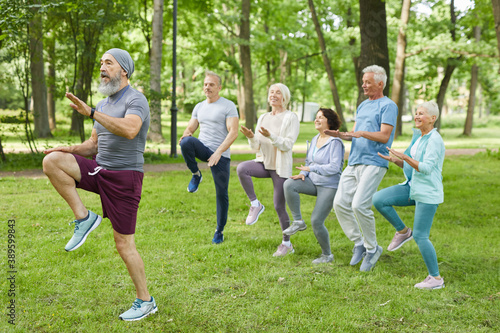 Wide shot of active elderly men and women doing morning workout in park with sen Fototapet