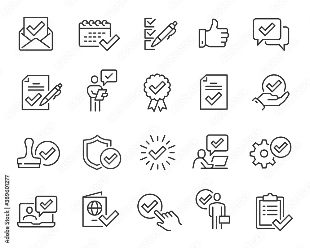 Fototapeta Approval and Check Marks Updated Icons Set. Collection of simple linear web icons such Approval of Files, Settings, Date, Person, Letters, Check Mark with Shield, Stamp, Documents and others. Editable