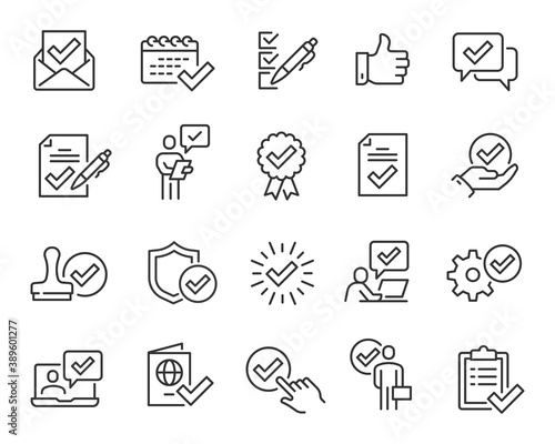 Fototapeta Approval and Check Marks Updated Icons Set. Collection of simple linear web icons such Approval of Files, Settings, Date, Person, Letters, Check Mark with Shield, Stamp, Documents and others. Editable obraz