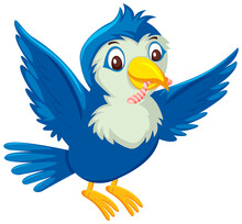Cute Blue Bird Cartoon Character