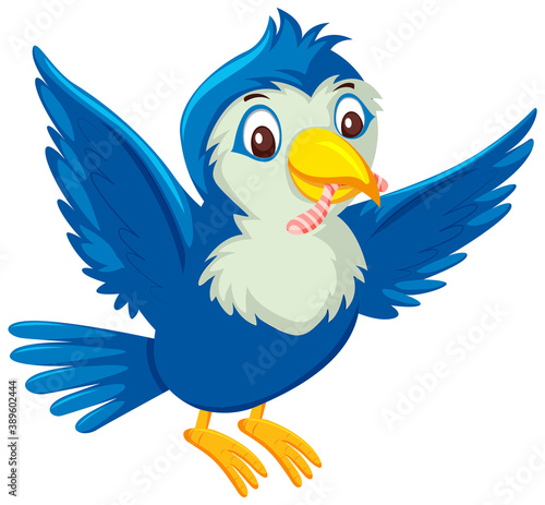 Fotografie, Tablou Cute blue bird cartoon character