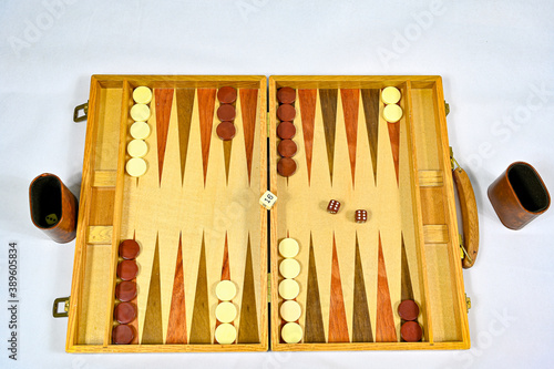Fototapeta backgammon board with game pieces and dices