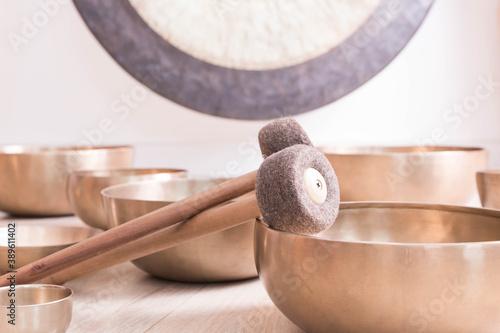 Fotografie, Obraz Traditional Tibetan meditation singing bowl for personal ritual