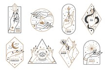 Occult Line Emblems. Outline Women Hands With Mystical Magic Elements In Minimalistic Trendy Style, Witchcraft Golden Symbols And Mysterious Objects, Elegant Vector Isolated Collection