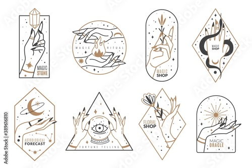 Fototapeta Occult line emblems. Outline women hands with mystical magic elements in minimalistic trendy style, witchcraft golden symbols and mysterious objects, elegant vector isolated collection obraz
