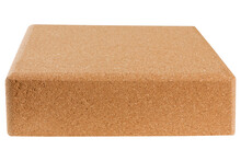 One Yoga Block Made Of Cork, Lies Horizontally, On A White Background