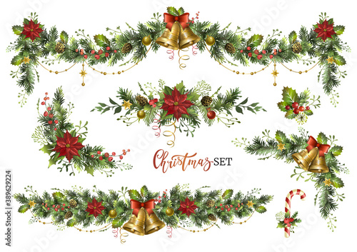 Obraz Christmas decor elements set for your design. Garland festive set. - fototapety do salonu