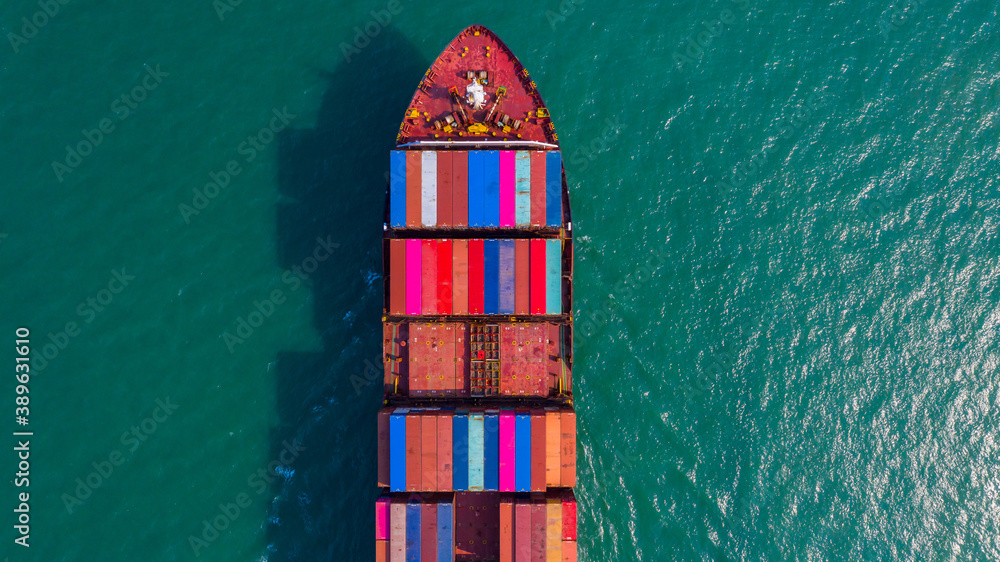 Fototapeta Container ship global business freight shipping import export logistic and transportation by container ship, Aerial view container cargo freight shipping maritime transport in marine worldwide.