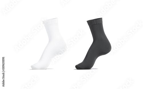 Blank black and white long socks mockup on tiptoe, isolated