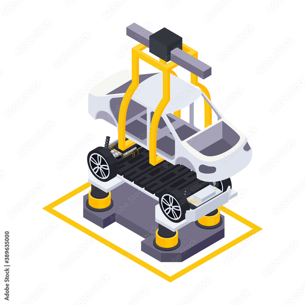 Fototapeta Electric Vehicle Assembly Composition