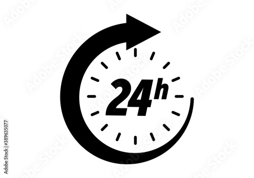 Obraz 24 hours icon, vector clock open time service or delivery, 7 days a week and 24 hr clock arrow sign - fototapety do salonu