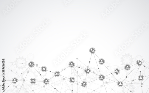 Fototapeta Vector illustration of connecting people and communication concept, social network. obraz