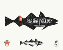 Vector Alaska Pollock Label. Seafood Shop Label, Design Elements And Emblem Template