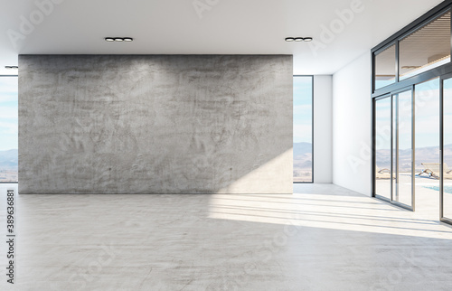 Leinwand Poster Minimalistic concrete interior with blank gray wall