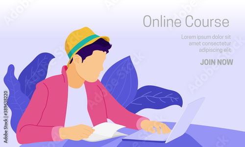 Flat vector illustration of a laptop user accessing online education while reading book Canvas Print