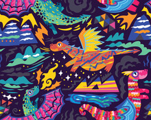 Fairy Dragons Seamless Pattern