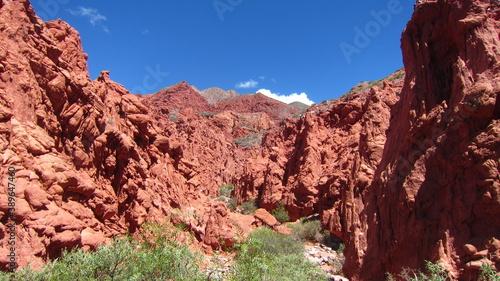 Photo Vista de un cañón en una zona desértica, con piedras de tinte rojizo , desgastadas por el paso de los siglos