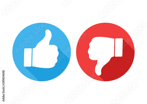 Obraz Like and dislike flat icons. Thumb up and thump down buttons isolated on white. - fototapety do salonu