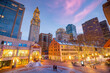 Downtown cityscape of old Market in the historic area of Boston USA