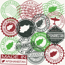 Afghanistan Set Of Stamps. Travel Passport Stamps. Made In Product. Design Seals In Old Style Insignia. Icon Clip Art Vector Collection.