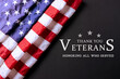 American flag on black background with text. Thank you Veterans.