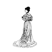 Woman In Historical Costumes Edwardian Era, Steampunk Design For Card. Hand Drawing - Vector