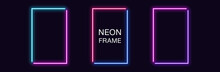 Neon Rectangle Frame. Set Of R...