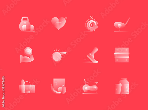 Fotomural Sports and Fitness Related Alpha Icons Set