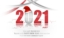 PF 2021. New Year Illustration With Christmas Hat And Ribbons.