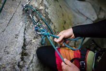 Detail View Of Climber Tying R...