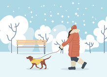 Active People In Winter City Park. Winter Time. Girl Walks With Dog In Winter City Park. Outdoor Winter Activities And Sport Cartoon Vector