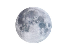 Isolated Full Moon, On White