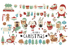 Christmas Animals, Santa Claus, Decorations, Xmas Elements And Symbols Isolated On White Background. Christmas Scandinavian Collection. Vector Illustration.