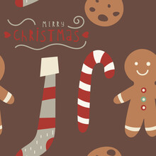 Seamless Pattern For Christmas Design In Scandinavian Style. Christmas Gingerbread Man, Stocking, Candy Cane, Cookie. Vector Illustration For Packaging. Pattern Is Cut, No Clipping Mask.