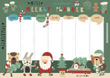 Christmas Weekly Planner For Kids – Woodland Animals And Santa Claus. Kids Schedule Design Template With Christmas Characters For Holidays. Vector Illustration.