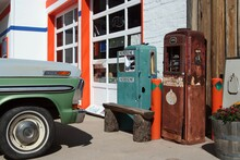View On Retro Petrol Pumps At Car Repair Shop On Route 66 - Williams, Arizona