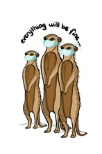 Cute Funny Meerkats Standing And Taking Face Masks For To Be Healthy.Protection Pandemic, Covid-19.Text Everything Will Be Fine.Brochure Design.